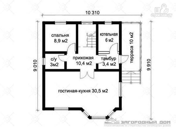 Фото 2: проект деревянный дом с эркером, террасой и балконом