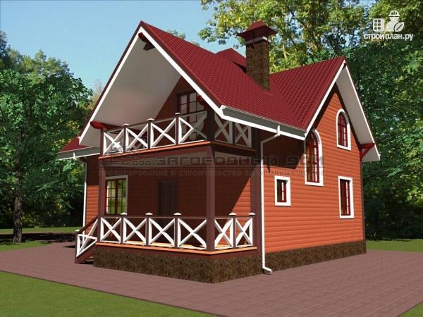 Фото 6: проект деревянный дом с эркером, террасой и балконом