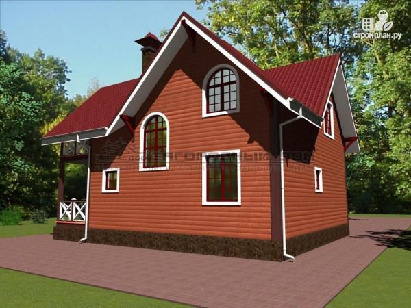 Фото 5: проект деревянный дом с эркером, террасой и балконом