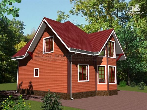 Фото 4: проект деревянный дом с эркером, террасой и балконом