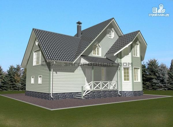 Фото 4: проект деревянный дом из бруса с эркером и гаражом