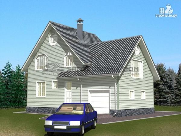 Фото 5: проект деревянный дом из бруса с эркером и гаражом
