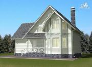 Фото: деревянный дом из бруса с эркером и гаражом
