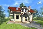 Проект дом из бруса с балконами и террасами