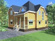 Фото: деревянный дом из бруса с крыльцом