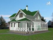 Фото: дом из бруса с зимним садом и террасой