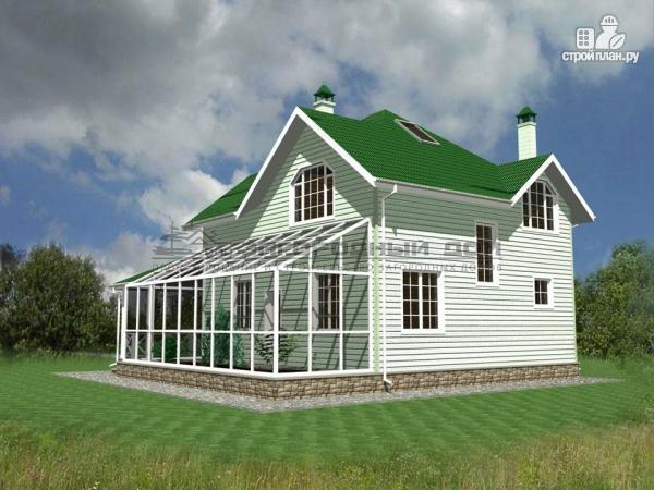 Фото 5: проект дом из бруса с зимним садом и террасой