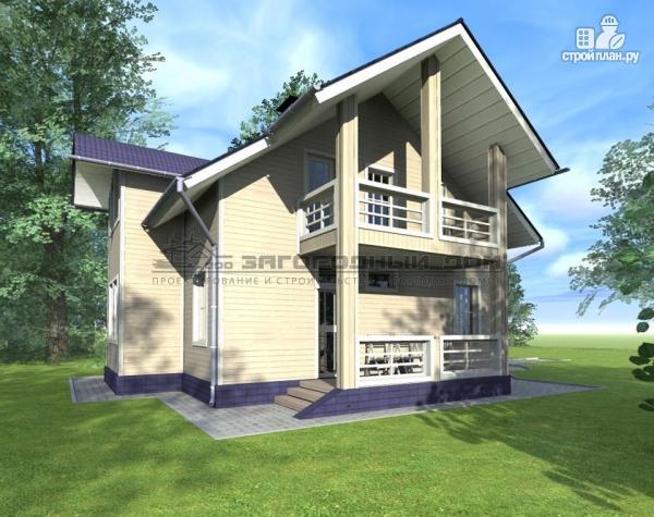Фото 5: проект дом из бруса с мансардным этажом, балконами и террасами