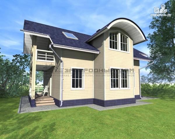 Фото 4: проект дом из бруса с мансардным этажом, балконами и террасами