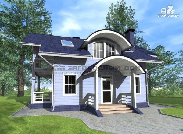 Фото 7: проект дом из бруса с мансардным этажом, балконами и террасами