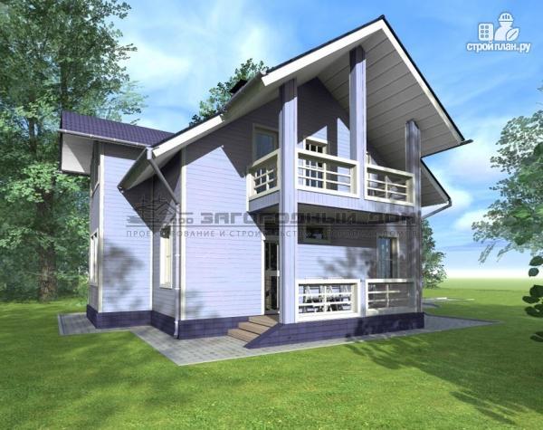 Фото 6: проект дом из бруса с мансардным этажом, балконами и террасами