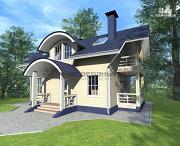 Проект дом из бруса с мансардным этажом, балконами и террасами