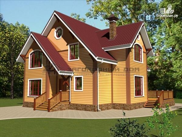 Фото: проект деревянный дом из бруса с террасой