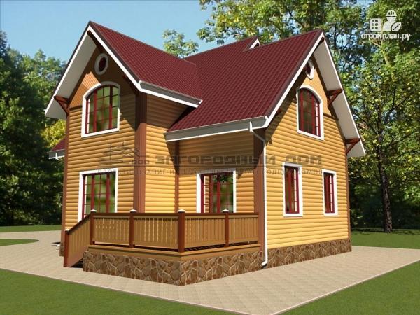 Фото 6: проект деревянный дом из бруса с террасой