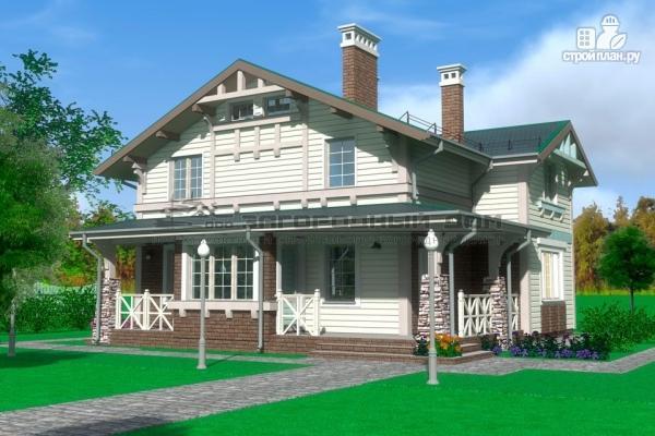 Фото: проект дом из бруса с террасами и балконом