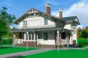 Проект дом из бруса с террасами и балконом