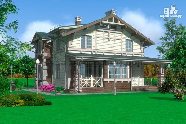 Фото 4: проект дом из бруса с террасами и балконом