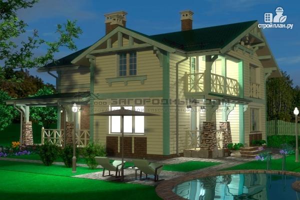 Фото 7: проект дом из бруса с террасами и балконом