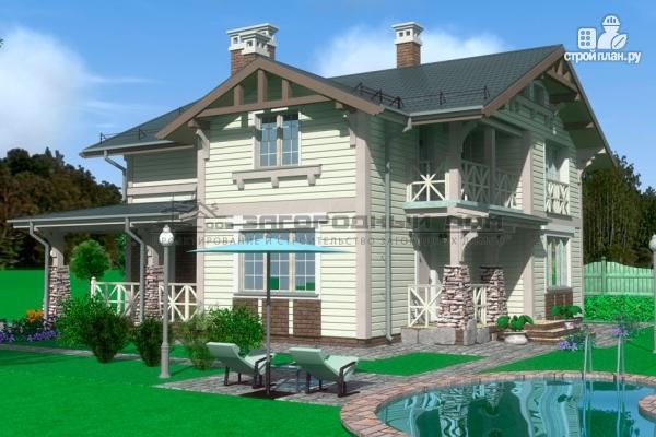 Фото 6: проект дом из бруса с террасами и балконом
