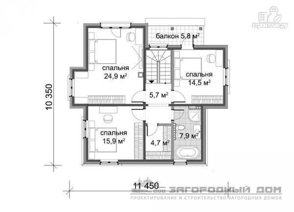 Фото 3: проект дом из бруса с террасами и балконом