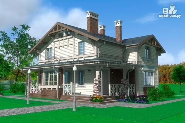 Фото 5: проект дом из бруса с террасами и балконом