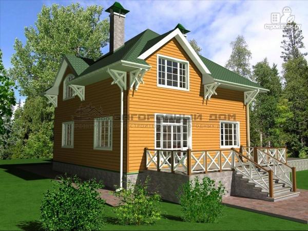 Фото 6: проект деревянный дом из бруса с большой террасой и гаражом