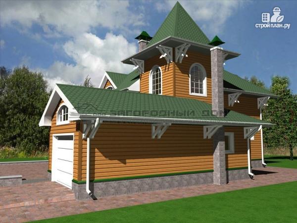 Фото 5: проект деревянный дом из бруса с большой террасой и гаражом