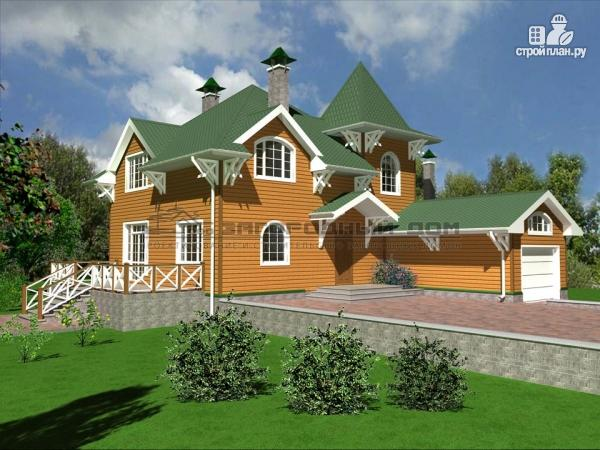 Фото 4: проект деревянный дом из бруса с большой террасой и гаражом
