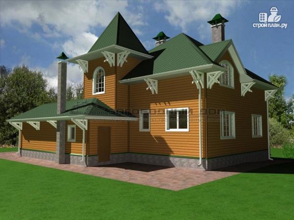 Фото 7: проект деревянный дом из бруса с большой террасой и гаражом