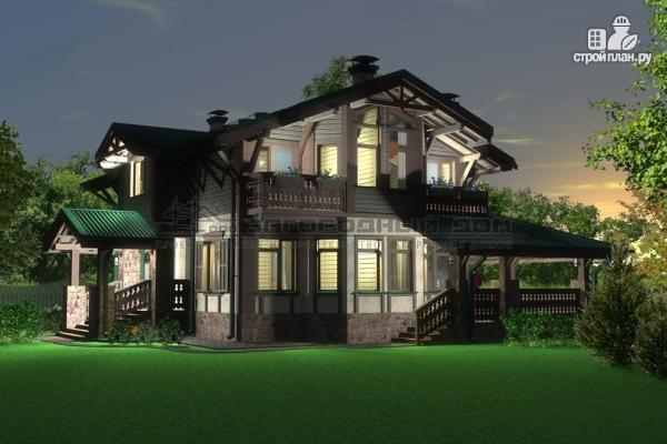 Фото 8: проект дом из бруса с балконами и камином на веранде