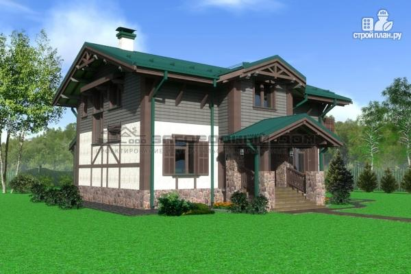Фото 5: проект дом из бруса с балконами и камином на веранде