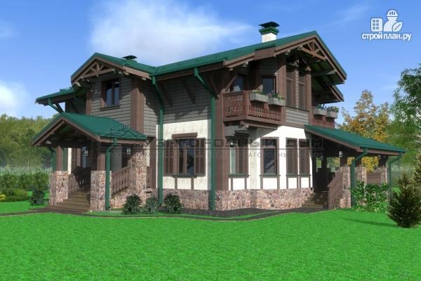 Фото 4: проект дом из бруса с балконами и камином на веранде