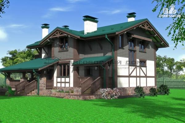 Фото 6: проект дом из бруса с балконами и камином на веранде