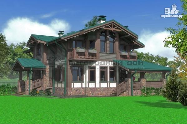 Фото: проект дом из бруса с балконами и камином на веранде