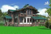 Фото: дом из бруса с балконами и камином на веранде