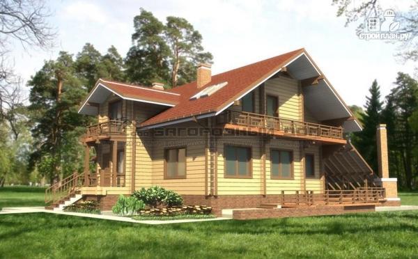 Фото: проект дом из бруса с балконами и террасой