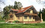 Проект дом из бруса с балконами и террасой