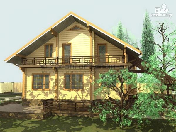 Фото 4: проект дом из бруса с балконами и террасой