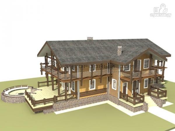 Фото: проект дом из бруса с балконами по периметру, террасой и парадным крыльцом
