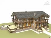 Проект дом из бруса с балконами по периметру, террасой и парадным крыльцом