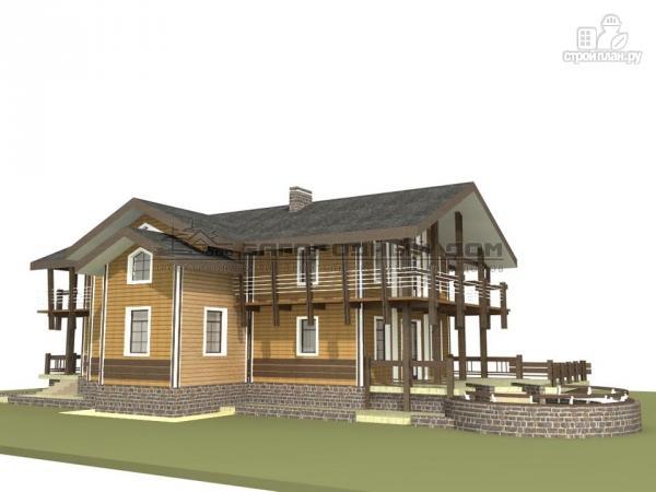 Фото 5: проект дом из бруса с балконами по периметру, террасой и парадным крыльцом