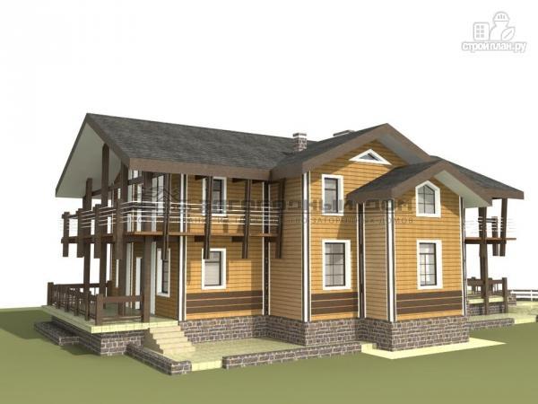 Фото 4: проект дом из бруса с балконами по периметру, террасой и парадным крыльцом