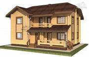 Проект двухэтажный дом из бруса с балконом и террасой