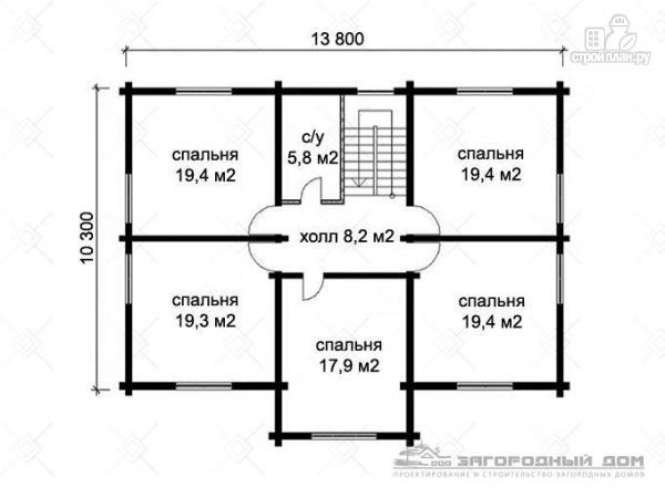 Фото 3: проект брусовой дом для большой семьи