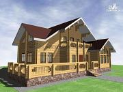 Фото: дом из бруса с большой террасой и балконом