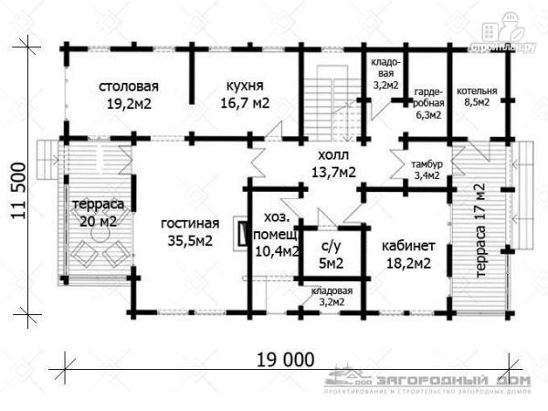 Фото 2: проект дом из бруса с двумя балконами, террасами и двухсветной гостиной