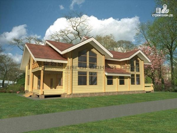 Фото: проект дом из бруса с двумя балконами, террасами и двухсветной гостиной