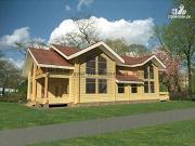 Проект дом из бруса с двумя балконами, террасами и двухсветной гостиной