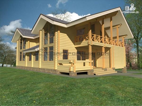 Фото 5: проект дом из бруса с двумя балконами, террасами и двухсветной гостиной