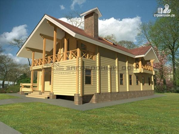Фото 4: проект дом из бруса с двумя балконами, террасами и двухсветной гостиной